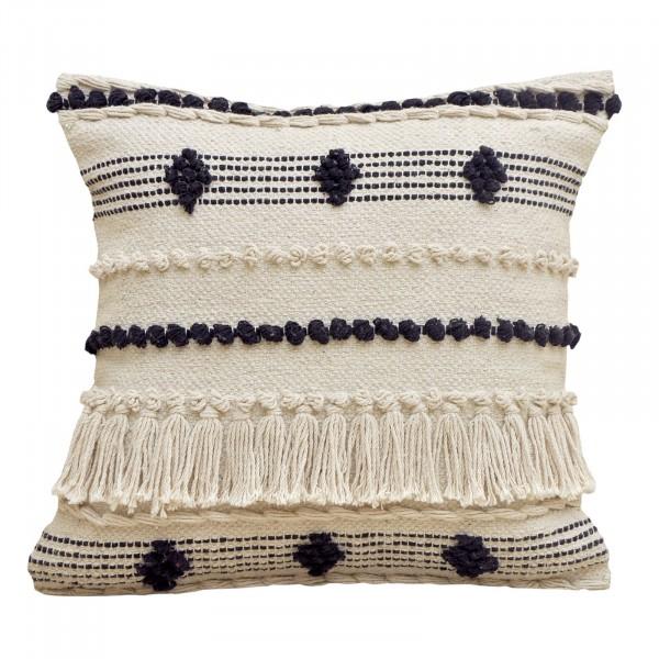 Dekokissen Bohemian wollweiß/schwarz mit Inlet und Füllung handgeknüpft verschiedene Designs