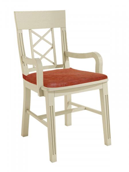Esszimmer Stuhl mit Armlehnen Chalet mit Holzsitz Pinie massiv