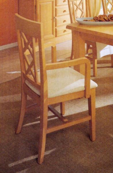 Esszimmer Stuhl mit Armlehnen und Festpolsterkissen Chalet Pinie massiv
