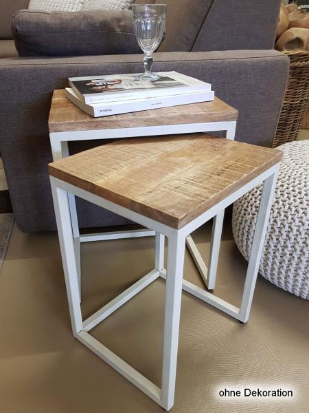 Couchtisch Set 2 Stück Wohnzimmer Tisch Satztisch Dallas Metall-Gestell schwarz oder weiß
