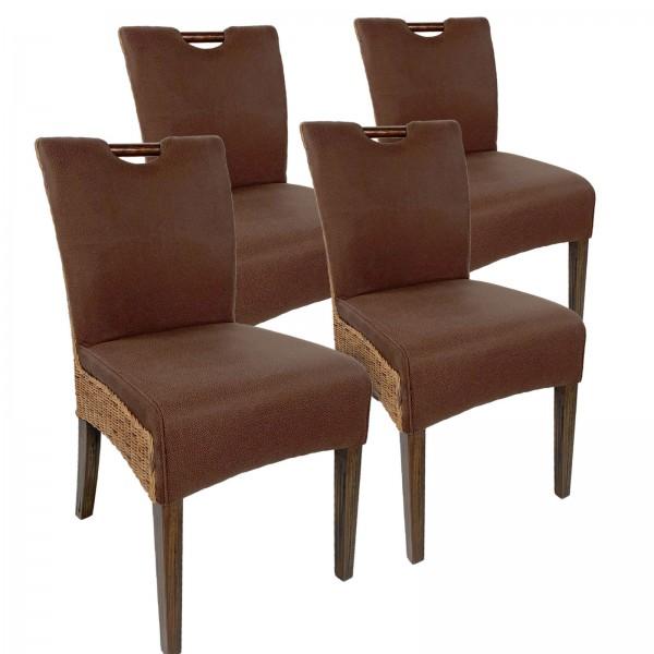 Rattanstuhl Esszimmerstuhl-SET Bilbao 4 Stück vollgepolstert Polster prairie brown