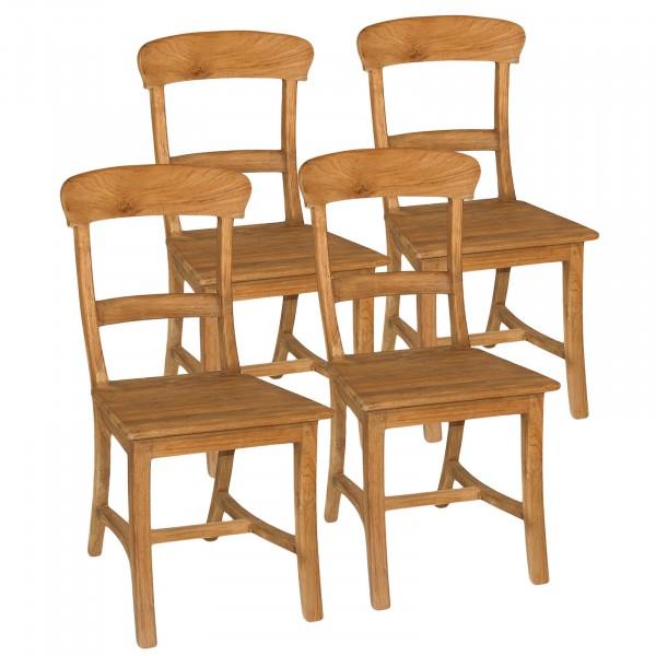 Esszimmer Stühle SET Tanja 4 Stück mit Holzsitzfläche Teakholz gebürstet unbehandelt