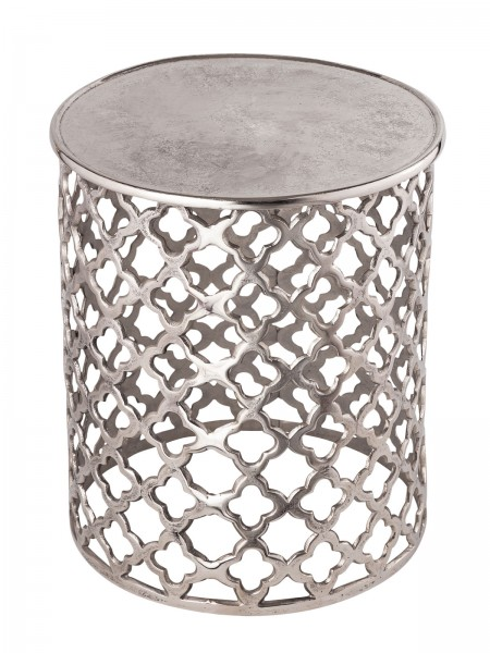 Dekotisch Metall Beistelltisch ø 40 x 45 cm rund Kairo silber o. gold Aluminium Orientalisch