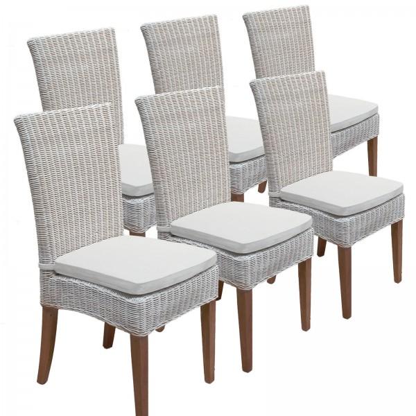 Esszimmer Stühle Rattanstühle Wintergarten Cardine 6 Stück weiß mit/ohne Sitzkissen leinen weiß