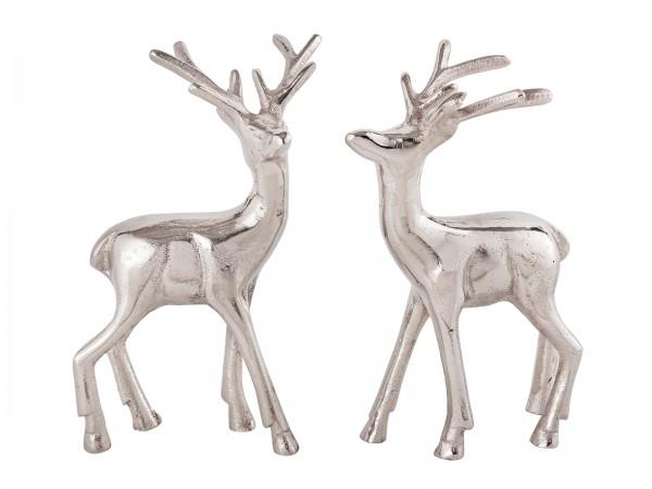 Deko Figur 2er Set Hirsch Tischdekoration Tierfigur Metall Weihnachtsdeko silber o. gold Aluminium