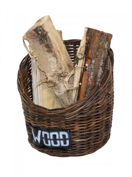 Feuerholzkorb Dekokorb modern aus handgeflochtenem Rattan Farbe crocco natur