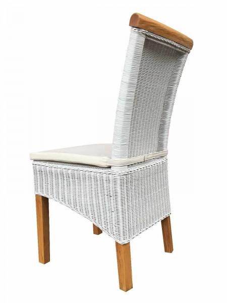 Rattanstuhl Esszimmer-Stuhl weiß Perth Sitzkissen Leinen weiß