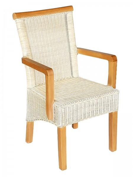 Esszimmer Stuhl mit Armlehnen ecru Rattanstuhl Perth Natur Rattan