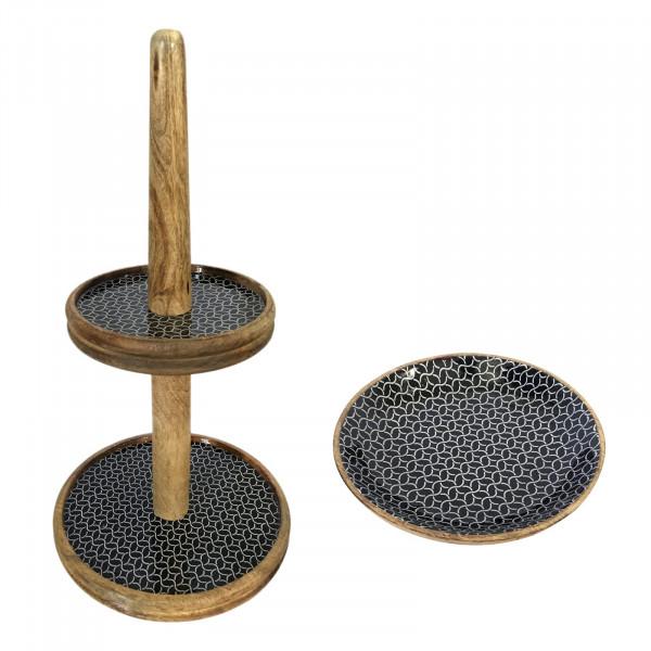 Etagere Set mit 1 großer Obstschale ø 30 und 28 cm Mangoholz mit Keramikdekor lebensmittelgeeignet