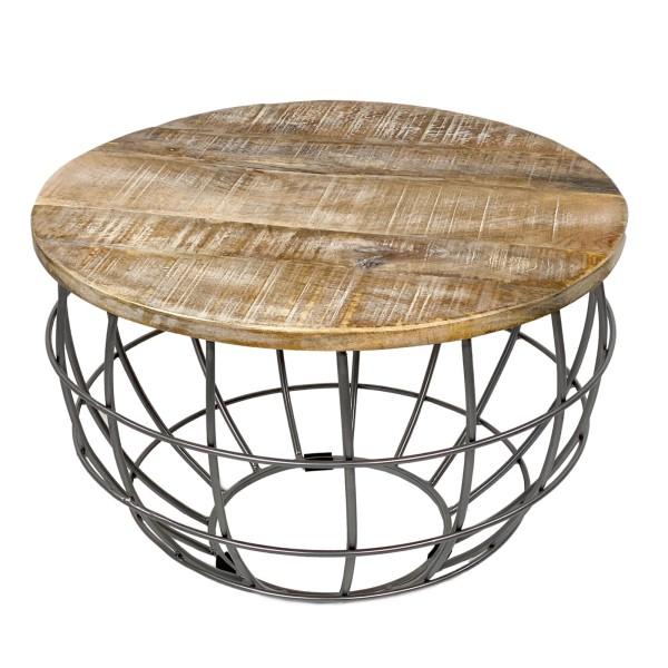Couchtisch rund Lexington ø 75 cm Metall Gitter Drahtgestell Massivholz Wohnzimmer-Tisch