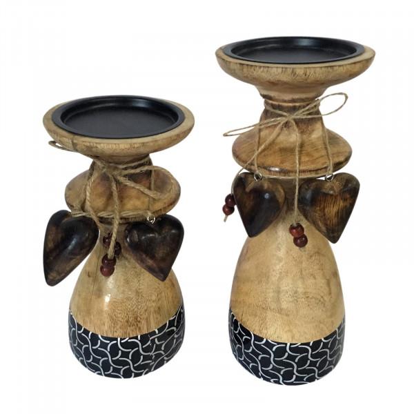 Kerzenständer Kerzenhalter Set 2-teilig mit je 1x groß und klein Mangoholz mit Keramikdekor