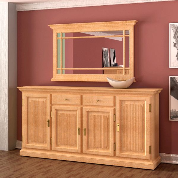 Sideboard Set Duett mit Wand-Spiegel 212 x 213 cm Pinie massiv