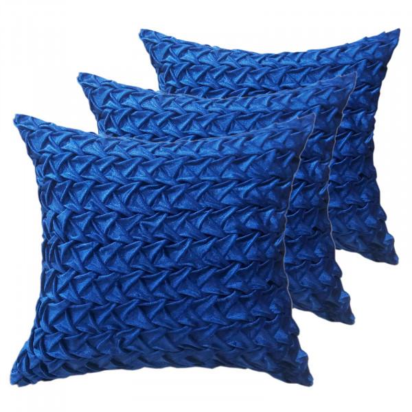 Zierkissen Deko Kissen Set 3 Stück Sofa Kissen Velour Samt 45 x 45 cm Zopfmuster royalblau