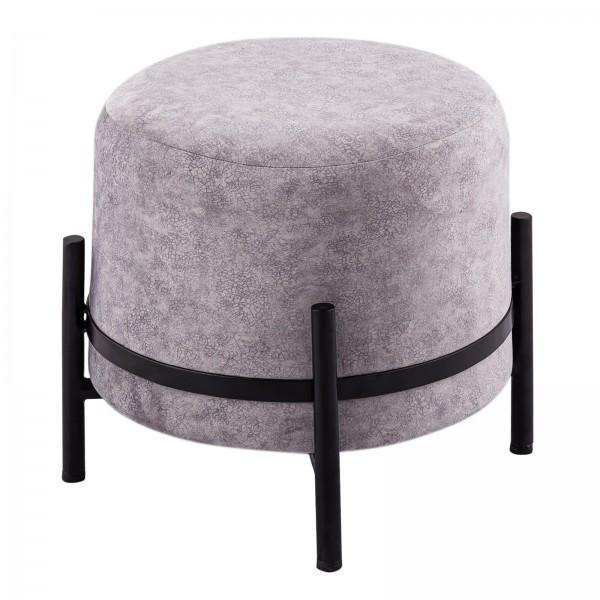 Sitzhocker 2. Wahl Ø 35 H 37 cm Wildleder-Optik Pouf Sitzpouf Sitzpouf mit Eisengestell schwarz matt