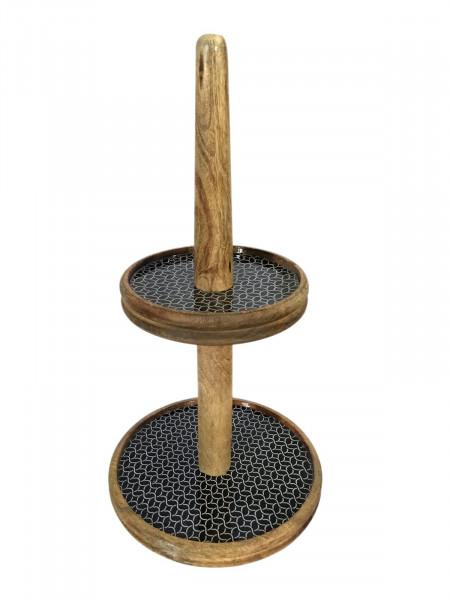 Etagere mit 2 Ebenen Egagenständer ø 30 cm Mangoholz mit Keramikdekor lebensmittelgeeignet