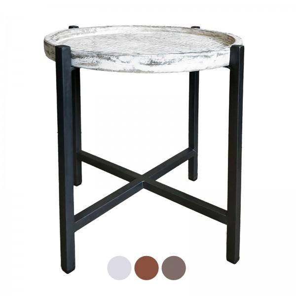 Beistelltisch Couchtisch Wohnzimmer-Tisch rund Omaha Metall-Gestell altsilber oder schwarz