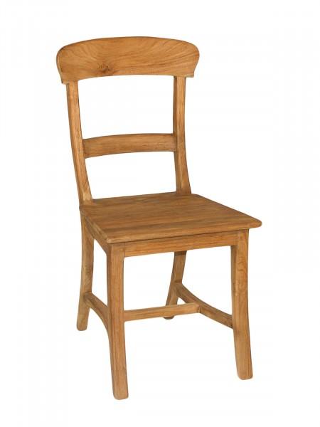 Esszimmer Stuhl Tanja mit Holzsitzfläche Teakholz gebürstet unbehandelt