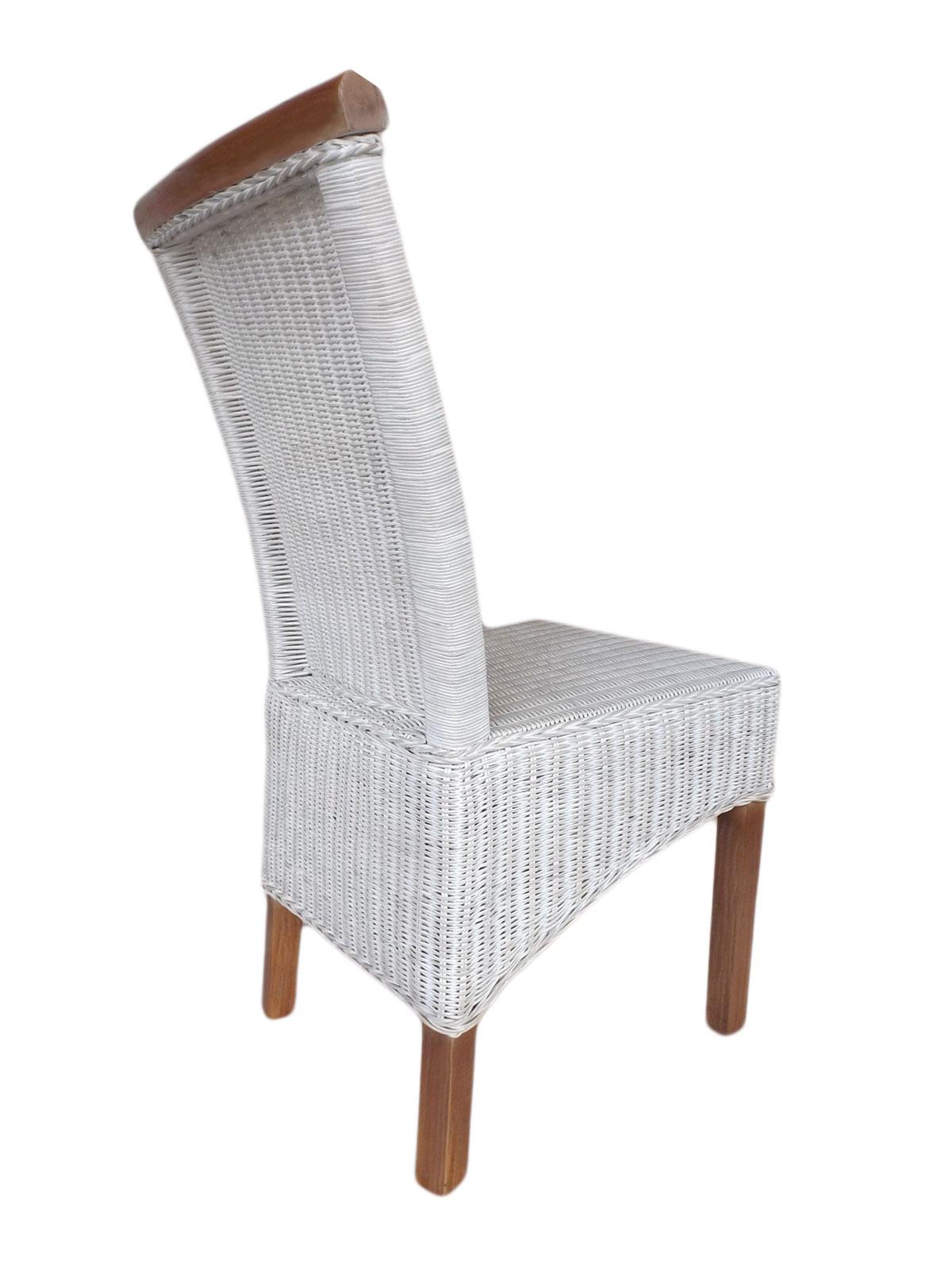 Esszimmer Stühle Set Rattan Stühle Perth 4 Stück Weiß Sitzkissen