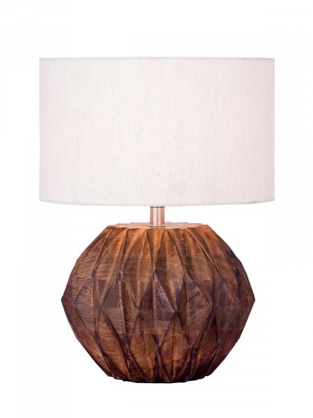 Tischlampe Nachttischlampe ø 30 x H 32 cm Tischleuchte Dekolampe mit Holzsockel im Facettendesign