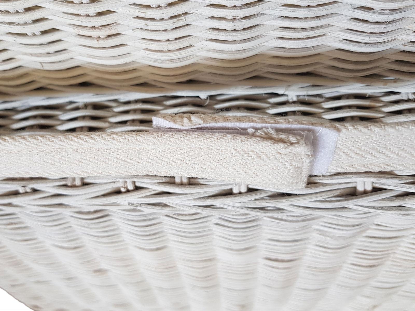 Esszimmer Stuhl Ratten Stuhl Perth Weiß Sitzkissen Leinen