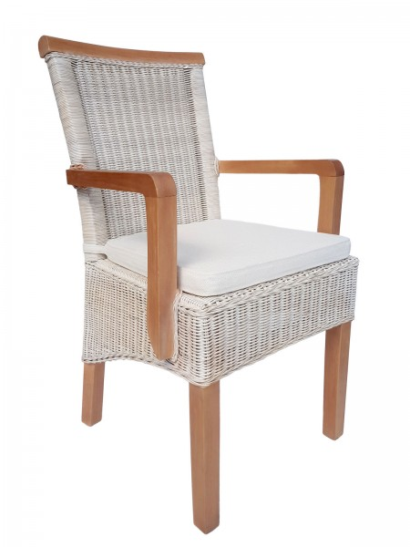 Esszimmer-Stuhl mit Armlehnen Rattanstuhl weiß oder braun Perth mit/ohne Sitzkissen Leinen weiß
