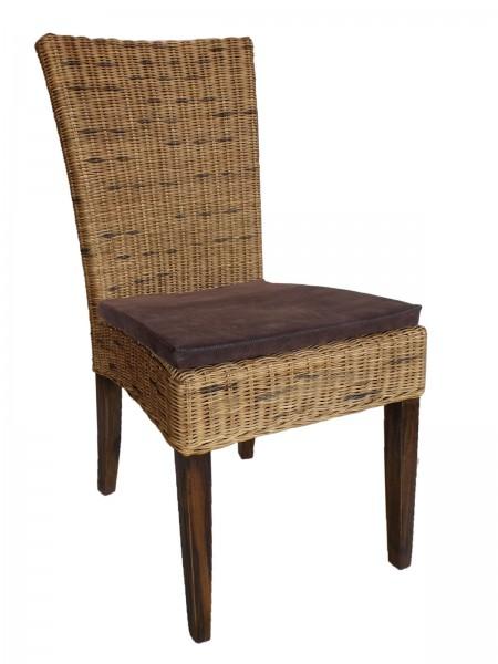 Esszimmer Stuhl Rattanstuhl Cardine mit/ohne Sitzkissen braun oder weiß