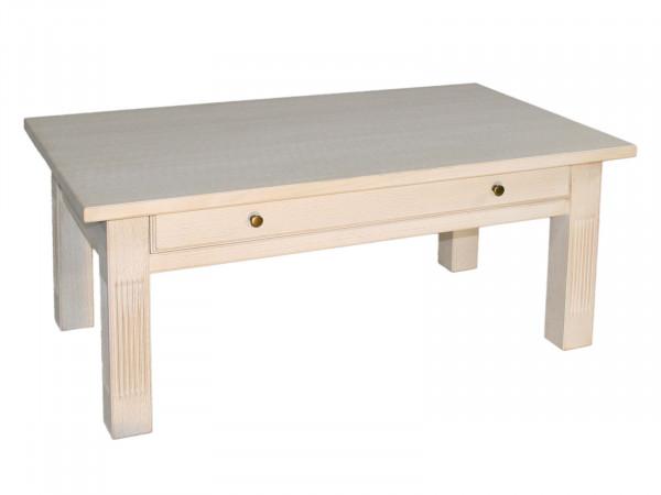 Couchtisch Wohnzimmer-Tisch 120 x 70 cm mit Schublade und fester Platte Pinie massiv