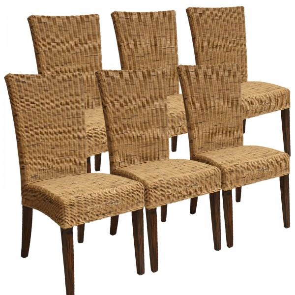 Esszimmer Stühle Rattanstühle Wintergarten Cardine 6 Stück cabana Sitzkissen braun