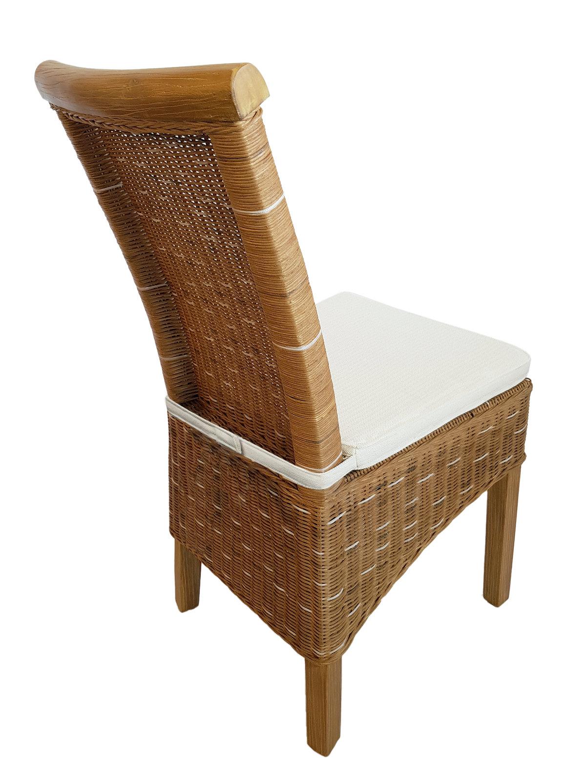 Esszimmer-Stühle Set Rattanstühle Perth 6 Stück weiß, Sitzkissen Leinen weiß