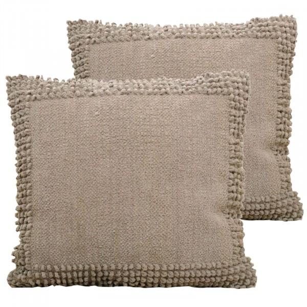 Deko-Kissen-Set 2 Stück Baumwoll-Chenille mit Inlet und Füllung handgefertigt 3 Farben