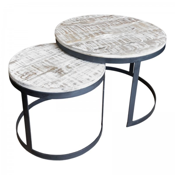 Couchtisch 2er Set Beistelltisch Wohnzimmer-Tisch rund Austin Metall-Gestell altsilber o. schwarz