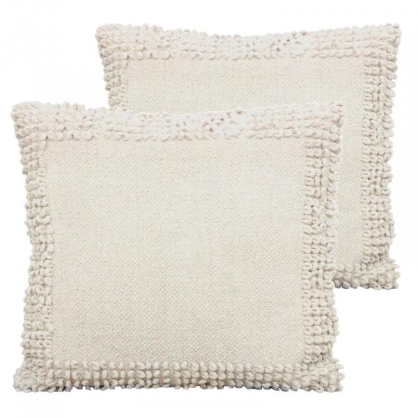 Deko-Kissen-Set, 2 Stück Baumwoll-Chenille mit Inlet und Füllung, handgefertigt 3 Farben