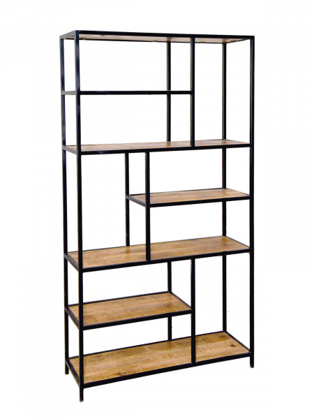 Bücherregal Stand Regal Bücherbord 100 x 190 x 40 cm Liverpool Metall-Gestell schwarz matt