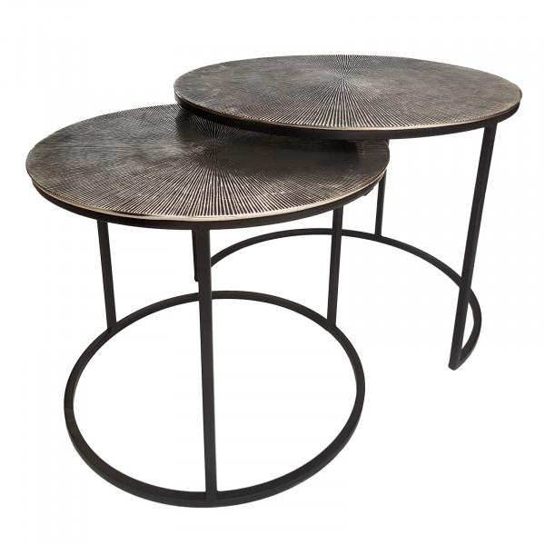 Couchtisch Set Metall ø 55 u. 45 cm Tische Wohnzimmer rund Charles 2-teilig Aluminium versilbert