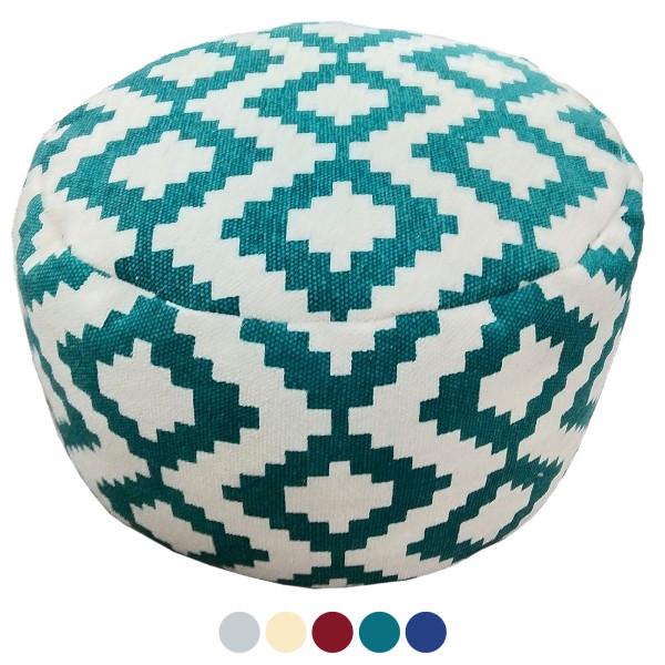 Sitzwürfel Sitzhocker Fußhocker Ø 55 H 37 cm Pouf Kelim Bodenkissen Bolivien türkis rot blau gold