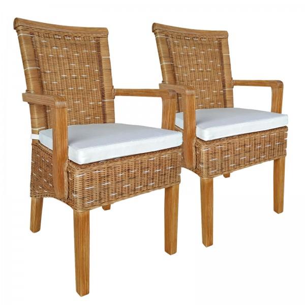 Esszimmer-Stühle-Set mit Armlehnen 2 Stück Rattanstuhl braun Perth mit/ohne Sitzkissen Leinen weiß