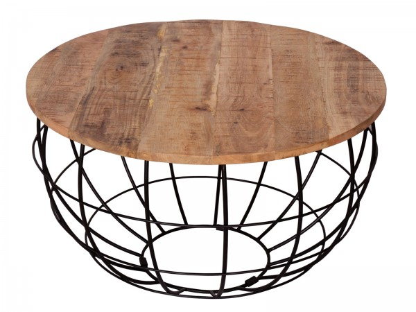 Couchtisch rund ø 75 cm Wohnzimmer-Tisch Massivholz London Metall Gitter Drahtgestell