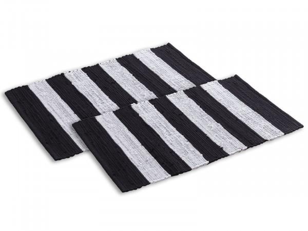 Badematte Set 2er groß 80 x 50 cm 100% Baumwolle Badteppich Badvorleger Badezimmerteppich Chindi