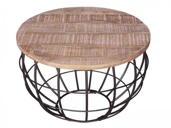 Couchtisch ø 55 cm Wohnzimmer-Tisch rund Beistelltisch London Metall Drahtgestell Gitter massiv