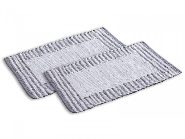 Badezimmerteppich Set 2er groß 80 x 50 cm 100% Baumwolle Badteppich Badematte Badvorleger Chindi