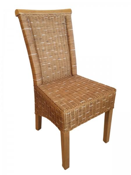 Esszimmer Stuhl Rattanstuhl Wintergarten Stühle natur braun Perth Sitzkissen Leinen weiß