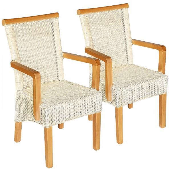 Esszimmer Stühle Set ecru mit Armlehnen 2 Stück Rattanstühle Perth