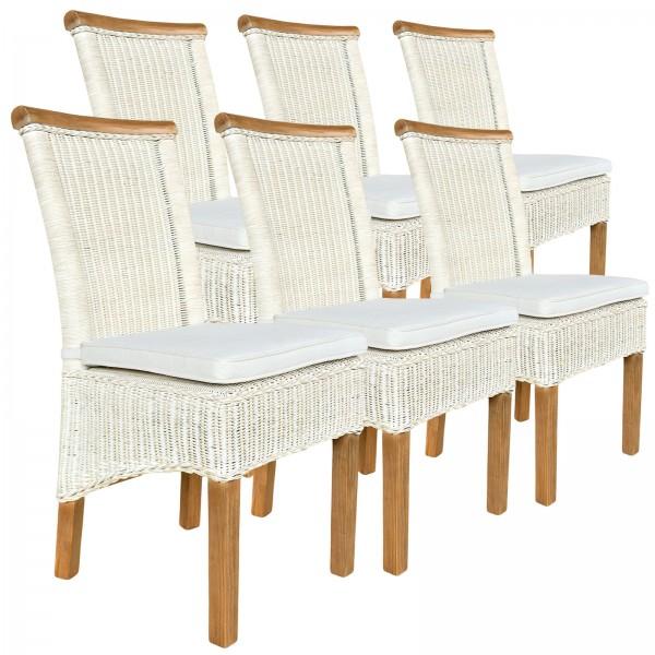 Esszimmer Stühle Set ecru Rattanstühle Perth 6 Stück Natur Rattan Sitzkissen Leinen weiß
