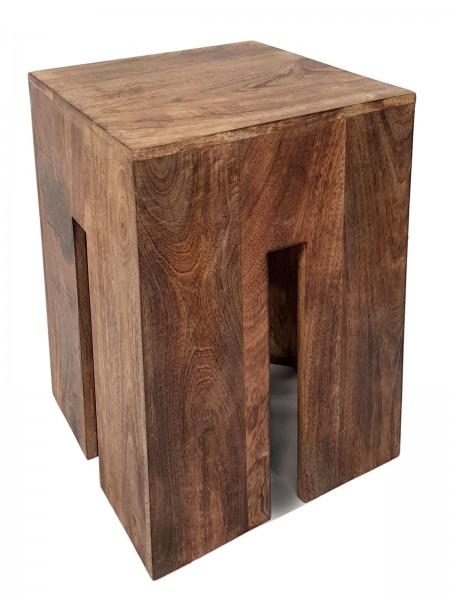 Sitzhocker Sitzwürfel 28 x 45 x 28 cm Quadratischer Hocker Beistelltisch Blumensäule Mangoholz