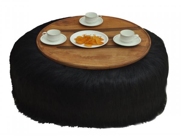 Couchtisch Wohnzimmertisch Kunstfell Ø 80 cm Höhe 32 cm weiß oder schwarz