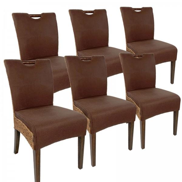 Rattanstuhl Esszimmerstuhl-SET Bilbao 6 Stück vollgepolstert Polster prairie brown