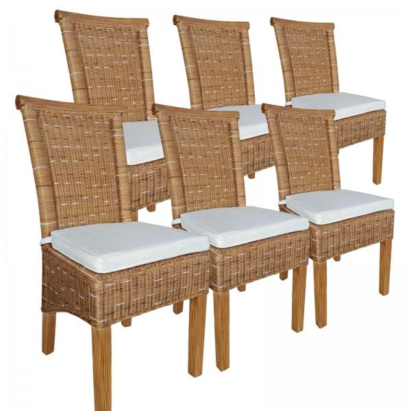 Esszimmer-Stühle Set Rattanstühle Perth 6 Stück braun Sitzkissen Leinen weiß
