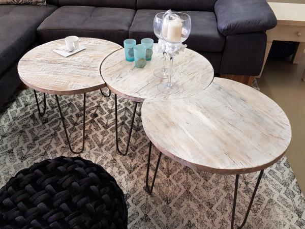 Couchtisch 3er Set Wohnzimmer-Tisch-Set Aramis Metall-Gestell altsilber oder schwarz