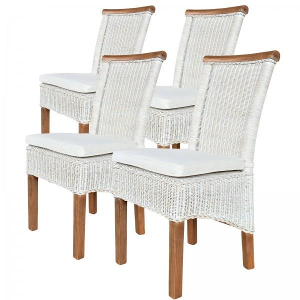 Esszimmer-Stühle Set Rattanstühle Perth 4 Stück weiß Sitzkissen Leinen weiß
