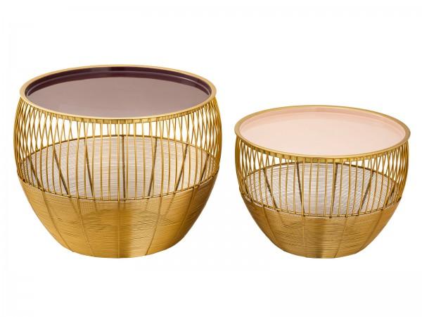 Couchtisch 2er Set Satztisch rund ø 49/41 H 37/29 cm Dekotische Sofatisch Glamira Tisch Metall gold
